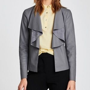 Zara Faux Leather Jacket with Flowing Lapels Grey